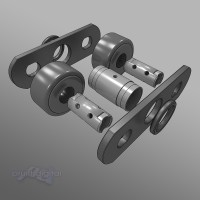 Roller Chain Link exploded view technical Illustration 3D rendering animation
