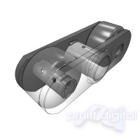 Roller Chain Link technical Illustration 3D rendering animation