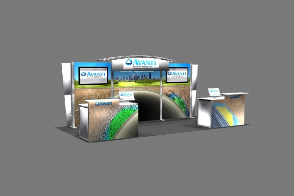 Trade show Booth Design illustration 3D rendering
