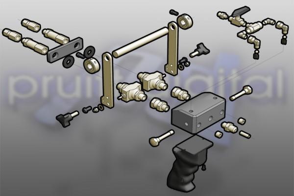 3D exploded view diagram illsutartion