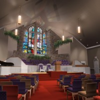 Church Interior Illustration graphic 3D rendering