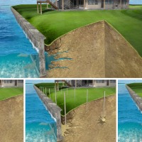illustration 3D rendering sea wall repair