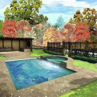 Architectural Exterior Watercolor Rendering illustration