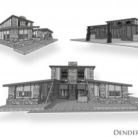 3D house exterior illustration rendering animation vray cel shaded